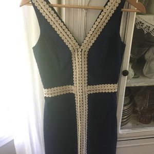 Lilly Pulitzer navy gold dress 00 excellent